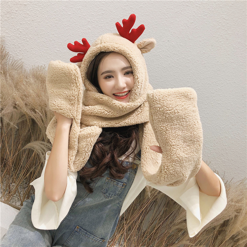 ZDFURS*Korean Version Of The Hat Thick Double Hat Scarf Gloves One Three Sets Of Cartoon Children Hat Antlers Parent-child Hat