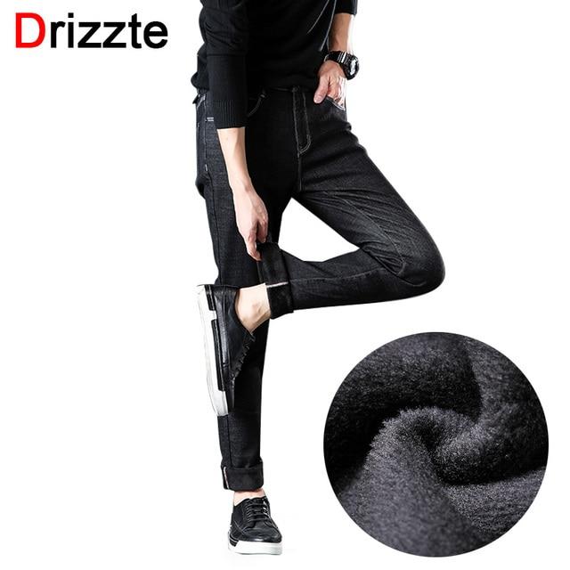 Drizze Winter Fleece Men Jeans Stretch Flockin Jeans Slim Fit Plus Size to 40 42 44 46 Big Men Jeans Pants Keep Warm