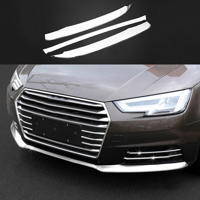 3x Acciaio Anteriore Inferiore Grill Grille Guardia Stampaggio Copertura Trim Per Audi A5 2018 & A4 B9 2017-2018