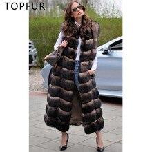 TUPFUR 2019 Fashion Real Fur Coat Women Brown Vest Natural Fox Long Slim Sleeveless Winter