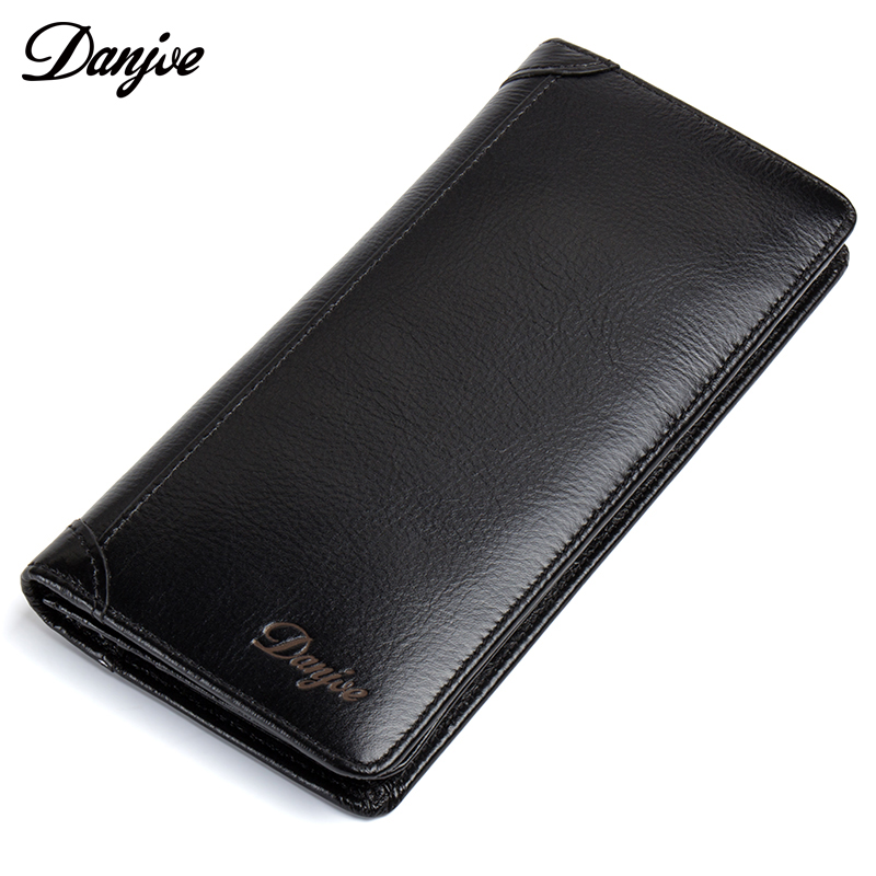 DANJUE Genuine Leather Men Wallets Long Black Brown Bifold Purse Male Clutch Money Bag Card Holder Fashion Cow Leather Carteira