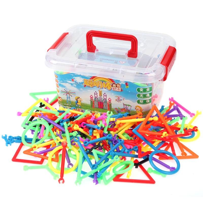 Unisex 120/220/370/700/1000Pcs Assembled Sticks Building Plastic Puzzles Set Toy Kid Early Educational Playings Birthday Gift