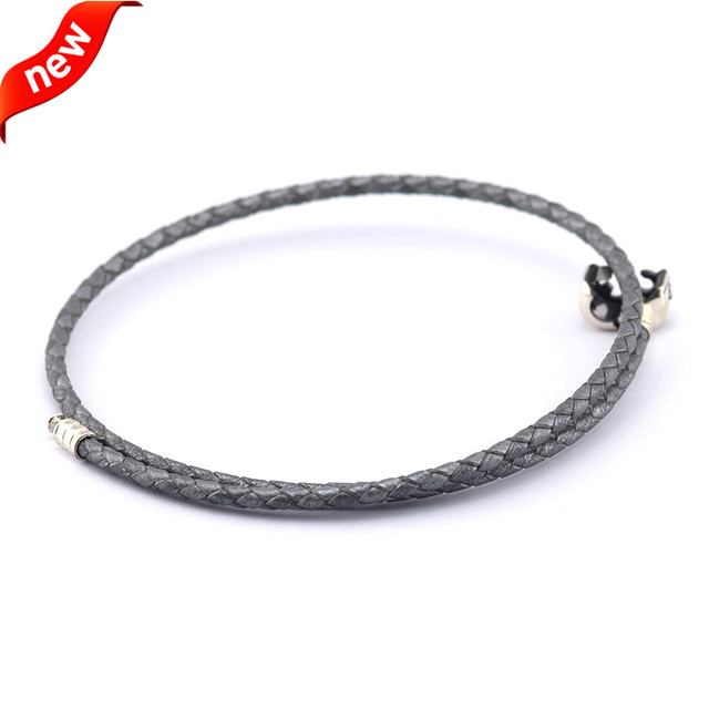 Fits European Beads Charm 925 Sterling Silver Jewelry Gray Leather Bracelets for Women DIY Jewelry Making with Silver Clip Clasp