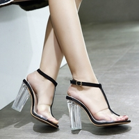 T Word With Transparent Transparent Jelly Shoes Crystal With High Heeled Sandals Shoes