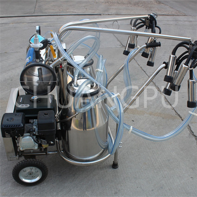 With Electric Motor Double Buckets Penis Gasoline Engine Portable Milking Machine for Dairy Farm