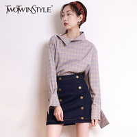 TWOTWINSTYLE Plaid Pullover Shirt Female Stand Collar Patchwork Long Sleeve Blouse 2018 Spring Large Size Fashion