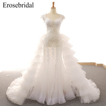 2019 Illusion Mermaid Wedding Dress Lace Bridal Gown Elegant Lace Up Back with Chapel Train Vestido De Noiva Real Image mini wired siren horn for gsm 3g 4g wireless home security sound alarm system 110db alarm siren