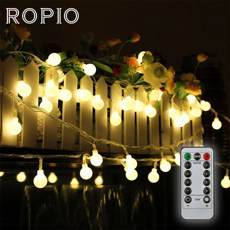 ROPIO 3M 6M 20 LEDs 40 LEDs Ball Fairy String Light With Remote Controller Outdoor Light For Home Garden Wedding Decoration
