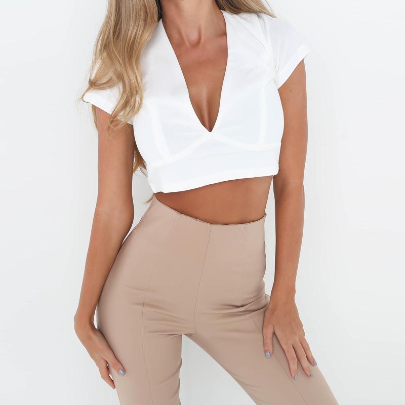 Lace Up Back Sexy T-shirt, Crisscross Fashion T- shirt, Summer Crop Top 13