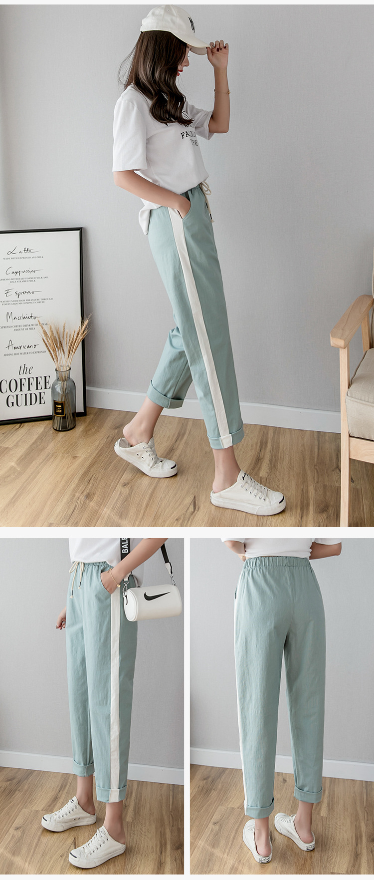 Cotton Linen Ankle Length Pants Women's Spring Summer Casual Trousers Pencil Casual Pants Striped Women's Trousers Green Pink 7