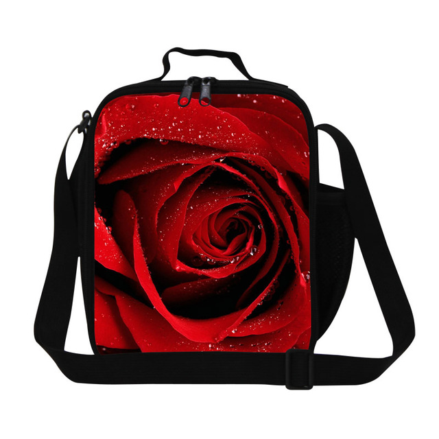 Cute lunch bag,Shoulder Insulated Lunch Cooler for Girls,3D Flower Printing Lunch Box bag,Fashion Rose lunch container for work