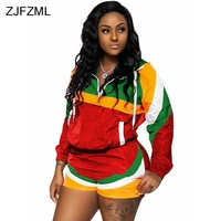 Sexy Two Piece Tracksuit Women's Costoms Zipper Up Long Sleeve Top And Bodycon Shorts Sweatsuits Streetwear Color Block Outfits