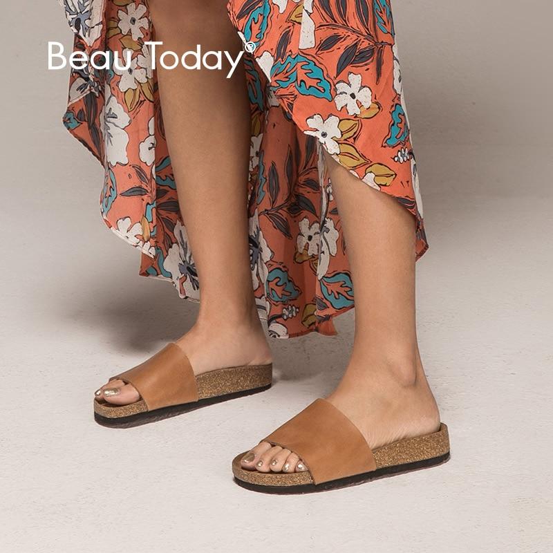 BeauToday รองเท้าแตะผู้หญิงหนังวัวแท้หนังวัวแท้ส้นแบนฤดูร้อนกลางแจ้งหญิงรองเท้าทำด้วยมือคุณภาพสูง 34009-ใน รองเท้าใส่ในบ้าน จาก รองเท้า บน   1