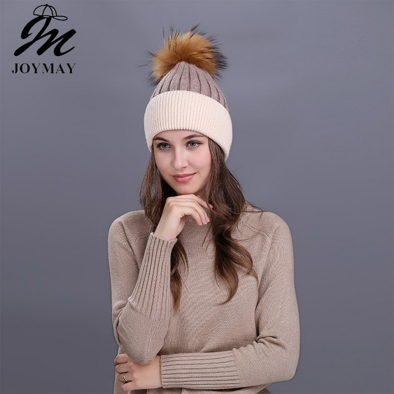 Joymay 2017 Winter Pompom Beanies Solid Color Hat Lady Plain Warm Soft Skull Knitting Cap Hats Touca Gorro Caps For Women W224 skullies beanies winter woman fashion knitting hats with pompom beanies girls warm letter b cap