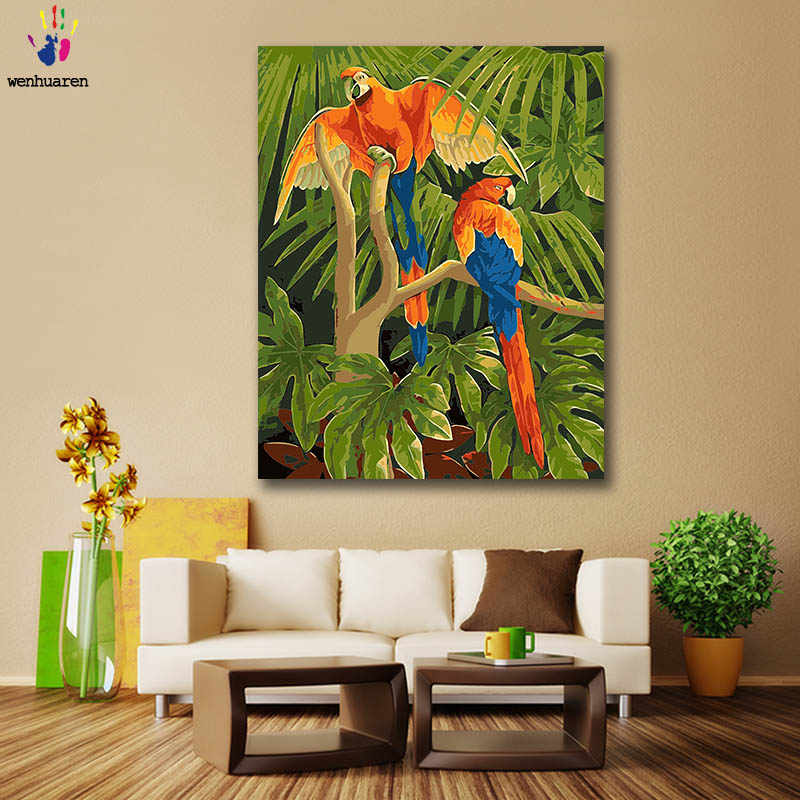 Diy paint by numbers  picture coloring by numbers with kits  Animal lovely Tiger dog cat parrot Leopard Flamingo gift Artwork