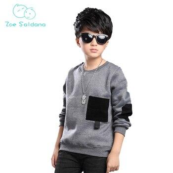 Zoe Saldana Boy's Sweatshirt 2017 New Fashion Autumn Winter Children Coat Cotton Solid Sweatshirt Patchwork Baby Boy Clothes