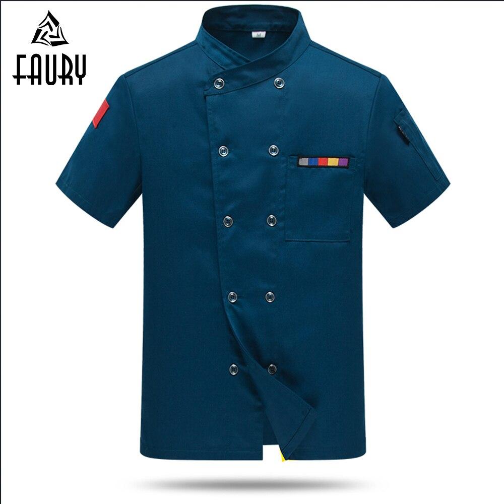 Chef Uniform Cook Jacket Cleaning Uniform Summer Short Sleeve Barber Food Service Unisex Work Clothes Waiter Waitress Hotel