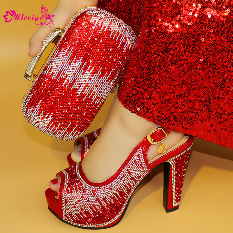 1719 Red Color Clearluv New Fashion Italian Shoes With Matching Bags African High Heel Women Shoes and Bags Set For Prom Party new fashion italian shoes with matching bags in red color for party african shoes and bags set for women wedding tys17 33
