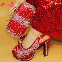 1719 Red Color Clearluv New Fashion Italian Shoes With Matching Bags African High Heel Women Shoes and Bags Set For Prom Party
