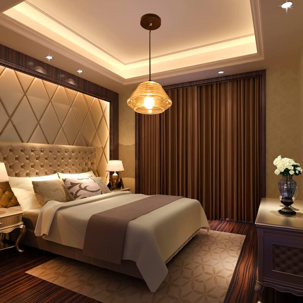 ФОТО E27 Modern Simple Thread Crystal Pendant Lights Fashion Design Bedroom Restaurant Pendant Lamp Single Head Droplight