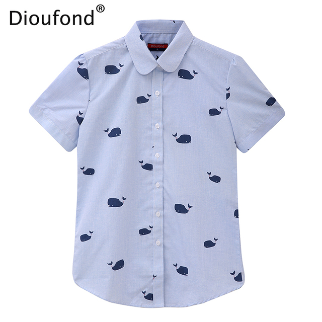 Dioufond Summer Short Sleeve Animal Print Blouses New Turn Down Collar Cotton Casual Women Shirts Plus Size 5XL Tops 2017