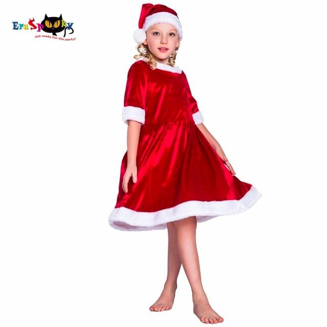 2017 cheap child christmas dress and hat set christmas costume christmas dresses for girls velvet loose
