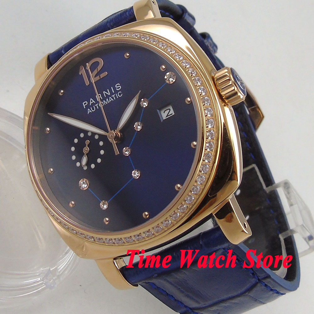 39mm Luxury Parnis men s watch Royal blue dial golden case sapphire glass 24 hours 5ATM