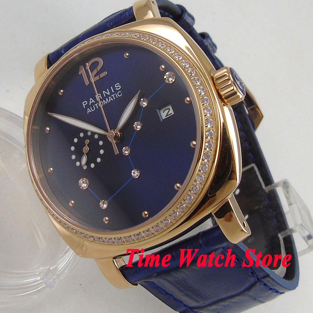 39mm Luxury Parnis men s watch Royal blue dial golden case sapphire glass 24 hours 5ATM