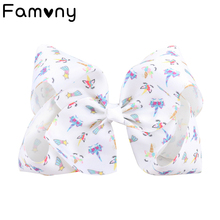 7 Large Jumbo Bows With Hair Clips For Girls Kids Handmade Boutique Printed Ribbon Hairgrips Accessories