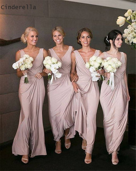 Cinderella Lovely Pink V-Neck Sleeveless A-Line Elastic Satin Bridesmaid Gown Hot Zipper Back Silk Satin Bridesmaid Dresses