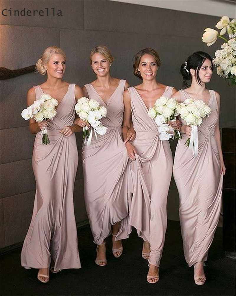 Cinderella Lovely Pink V-Neck Sleeveless A-Line Elastic Satin   Bridesmaid   Gown Hot Zipper Back Silk Satin   Bridesmaid     Dresses