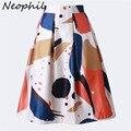 Neophil 2016 Women Summer Ball Gown Skater Skirts Midi Geometric Graffiti Print Pleated High Waist Tutu Ladies Saias Jupe S07008