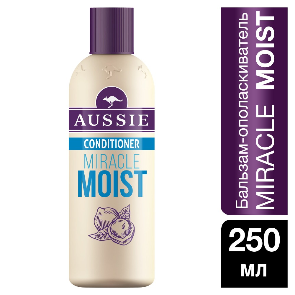 AUSSIE Miracle Moist balm conditioner for dry / damaged hair 250ml british aussie miracle natural plant conditioner 250ml moisturizing aussie miracle moist conditioner for dry