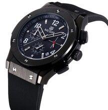 Megir luxe Mens montres Top marque de mode Quartz montre chronographe 6 mains hommes montres sport Silicone Relogio Masculino