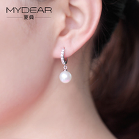 MYDEAR 2017 Hot Sale Korean Style 925 Sterling Silver Earring with Horse Eyes Stone Daisy