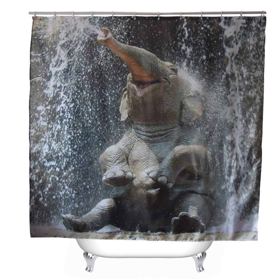 Svetanya baby elephant printed shower curtains bath for Shower curtain savers