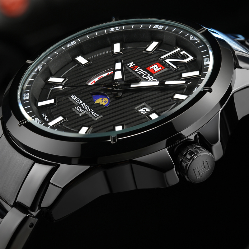 2018 New NAVIFORCE Brand Moon Phase Watches Men Fashion Full Stainless Steel Quartz Watch Man Waterproof Sports Clock