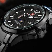 2016 New NAVIFORCE Brand Moon Phase Watches Men Fashion Full Stainless Steel Quartz Watch Man Waterproof