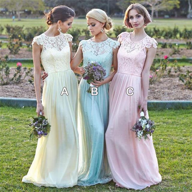 2015 Robe Madrinha De Casamento Rose Poudre Bleu Jaune Cap Manches