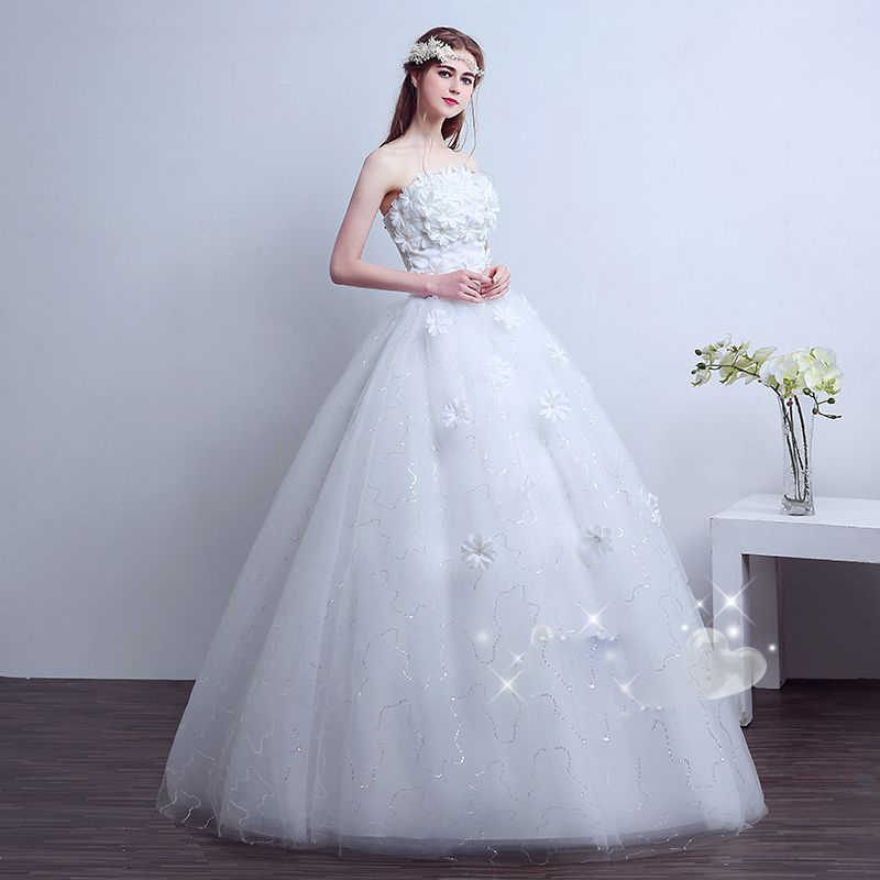 1f706c98cc9e6 Vestido De Noiva strapless wedding gowns flowers beaded bride gown  beautiful cheap wedding dresses made in china