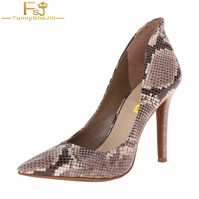 1b2442093d FSJ Fashion Snake Print Skin Lady Autumn 2018 Round Toe High Thin Heels  Evening Party Dress Exotic Shoes Woman Escarpin Femme 41