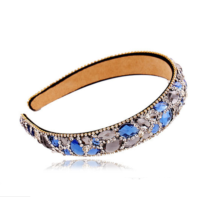 High-end hair hoop girls hit wide-brimmed crystal diamond hairpin women hair accessories wholesale tire head band south korea han edition tire hair accessories fashion version of wrong layer tassel wide set auger flannelette hair band