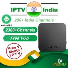 La India IPTV caja KM9 Android 9,0 Smart Tv caja de 1 mes IPTV suscripción India Pakistán Turquía Reino Unido Alemania árabe francia IP TV