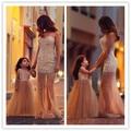 Vestido де феста 2016 мать и дочь соответствующие платья русалка тюль жемчуг выпускного вечера элегантные длинные вечерние платья