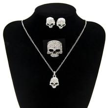Declaración de Joyería de Plata Del Cráneo Esqueleto Cráneo Collar de Cristal de Sistemas de la Joyería de Necklace Set Partido de Las Mujeres Pendientes de La Manera Fina