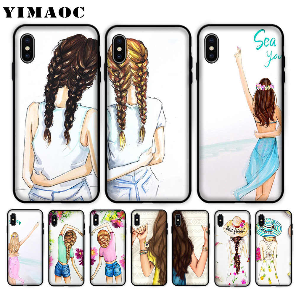 012f4555c9 YIMAOC Best Friends BFF Matching Soft Case for iPhone XS Max XR X 7 8 6