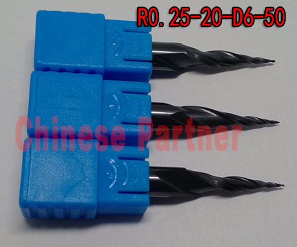 1pc R0.25*D6*20*50L*2F HRC55 Tungsten solid carbide Taper Ball Nose End Mill cone milling cutter cnc router bit wood knife tool hrc55 r0 2 r0 5 r0 75 r1 0 r0 72 taper ball end carbide tungsten solid steel milling cutter alloy taper endmill