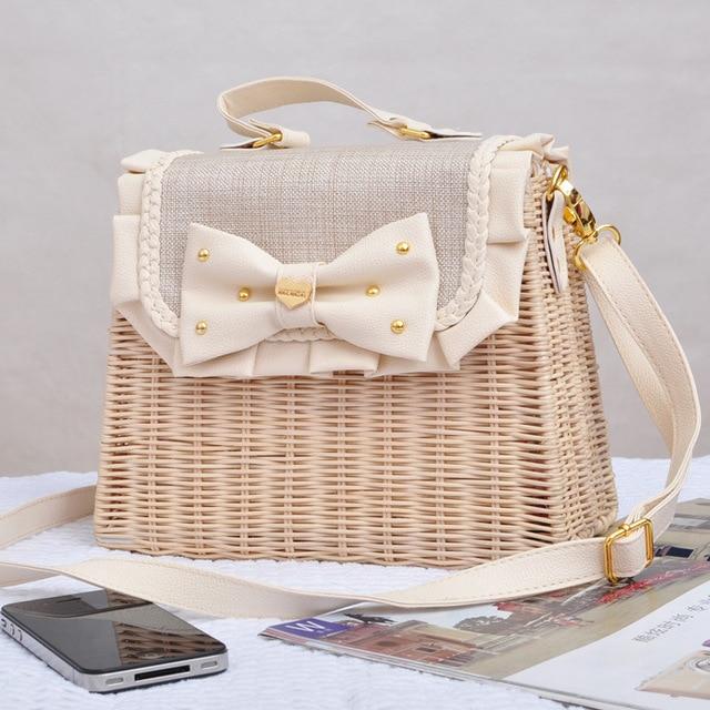 Rattan Bag New Anese Liz Lisa Bow Straw Fashion Handbags Leather Casual Linen