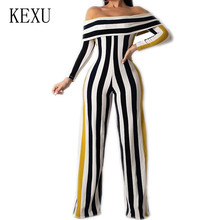 KEXU Rompers New Bodycon Stripe Jumpsuits Women Sexy Party Clubwear Playsuits Casual Off Shoulder Long Sleeve Vintage Bodysuits
