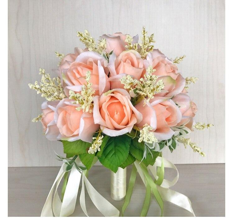 white pink silk flowers bridesmaids bridal Wedding Bouquets rose flowers (12)